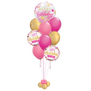 Pink Polka Dots Birthday Balloons